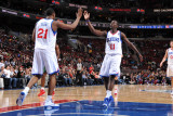 Milwaukee Bucks v Philadelphia 76ers: Thaddeus Young and Jrue Holiday Photographic Print by Jesse D. Garrabrant
