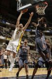 Charlotte Bobcats v Indiana Pacers: Josh McRoberts and Gerald Wallace Photographic Print by Ron Hoskins