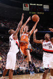 Phoenix Suns v Portland Trail Blazers: Marcus Camby, Dante Cunningham and Goran Dragic Photographic Print by Sam Forencich