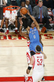 Oklahoma City Thunder v Houston Rockets: Russell Westbrook and Brad Miller Photographic Print by Bill Baptist