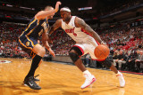 Indiana Pacers v Miami Heat: LeBron James and Josh McRoberts Photographic Print by Victor Baldizon