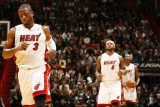 Cleveland Cavaliers v Miami Heat: Dwyane Wade, LeBron James and Chris Bosh Photographic Print by Issac Baldizon