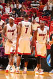 Washington Wizards v Miami Heat: LeBron James, Chris Bosh and Dwyane Wade Photographic Print by Victor Baldizon