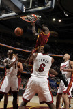 Miami Heat v Cleveland Cavaliers: J.J. Hickson, Chris Bosh, LeBron James and Zydrunas Ilgauskas Photographic Print by David Liam Kyle