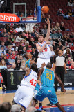 New Orleans Hornets v Philadelphia 76ers: Spencer Hawes and David West Photographic Print by David Dow