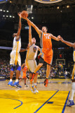 Phoenix Suns v Golden State Warriors: Hedo Turkoglu andris Biedrins and Dorell Wright Photographic Print by Rocky Widner