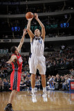New Jersey Nets v Dallas Mavericks: Dirk Nowitzki and Jordan Farmar Photographic Print by Glenn James