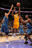 Washington Wizards v Los Angeles Lakers: Ron Artest, Yi Jianlian and Hilton Armstrong Photographic Print by Andrew Bernstein