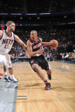 Oklahoma City Thunder v Houston Rockets: Andre Miller and Brook Lopez Photographic Print by Bill Baptist