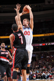 Portland Trail Blazers v Philadelphia 76ers: Spencer Hawes and Brandon Roy Photographic Print by Jesse D. Garrabrant