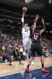 Portland Trail Blazers v New Jersey Nets: Johan Petro and LaMarcus Aldridge Photographic Print by David Dow