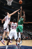 Boston Celtics v Atlanta Hawks: Marquis Daniels and Zaza Pachulia Photographic Print by Scott Cunningham