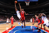 New Jersey Nets v Philadelphia 76ers: Thaddeus Young and Derrick Favors Photographic Print by Jesse D. Garrabrant