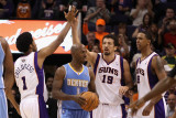 Denver Nuggets v Phoenix Suns: Hedo Turkoglu, Josh Childress and Channing Frye Photographic Print by Christian Petersen
