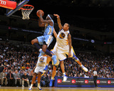 Denver Nuggets v Golden State Warriors: Ty Lawson and Monta Ellis Fotografisk trykk av Rocky Widner