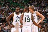 Indiana Pacers v Utah Jazz: Andrei Kirilenko, Raja Bell and Paul Millsap Photographic Print by Melissa Majchrzak