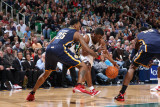 Indiana Pacers v Utah Jazz: Ronnie Price, Brandon Rush and Roy Hibbert Photographic Print by Melissa Majchrzak