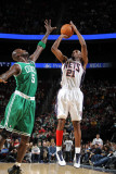 Boston Celtics v New Jersey Nets: Travis Outlaw and Kevin Garnett Photographic Print by Nathaniel S. Butler