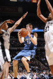 Minnesota Timberwolves v San Antonio Spurs: Luke Ridnour, George Hill and Tim Duncan Photographic Print by D. Clarke Evans