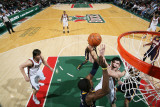 Indiana Pacers v Milwaukee Bucks: Ersan Ilyasova and Roy Hibbert Photographic Print by Gary Dineen