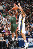 Milwaukee Bucks v Utah Jazz: Brandon Jennings and Deron Williams Photographic Print by Melissa Majchrzak