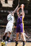 Los Angeles Lakers v Utah Jazz: Al Jefferson and Pau Gasol Photographic Print by Melissa Majchrzak