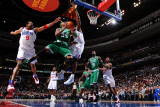 Boston Celtics v Philadelphia 76ers: Paul Pierce and Andre Iguodala Fotografisk tryk af Jesse D. Garrabrant