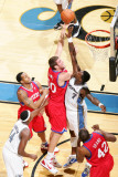 Philadelphia 76ers v Washington Wizards: Spencer Hawes and Andray Blatche Photographic Print by Ned Dishman
