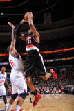 Portland Trail Blazers v Philadelphia 76ers: LaMarcus Aldridge and Marreese Speights Photographic Print by Jesse D. Garrabrant