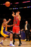 Chicago Bulls v Los Angeles Lakers: Kyle Korver and Shannon Brown Photographic Print by Noah Graham