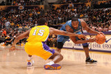 Washington Wizards v Los Angeles Lakers: Gilbert Arenas and Ron Artest Photographic Print by Noah Graham