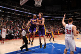 Los Angeles Lakers v Los Angeles Clippers: Derek Fisher and Pau Gasol Photographic Print by Noah Graham