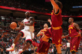 Cleveland Cavaliers v Miami Heat: LeBron James and Anderson Varejao Photographic Print by Victor Baldizon