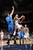 Oklahoma City Thunder v New Jersey Nets: Jordan Farmar and Nenad Krstic Photographic Print by Jesse D. Garrabrant