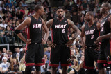 Miami Heat v Dallas Mavericks: Dwyane Wade, Chris Bosh, LeBron James and Joel Anthony Photographic Print by Bill Baptist