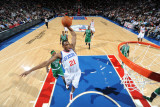 Boston Celtics v Philadelphia 76ers: Thaddeus Young and Marquis Daniels Photographic Print by Jesse D. Garrabrant