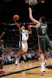 Milwaukee Bucks v San Antonio Spurs: George Hill and Andrew Bogut Photographic Print by D. Clarke Evans