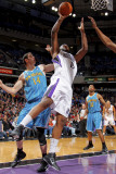 New Orleans Hornets v Sacramento Kings: DeMarcus Cousins and Jason Smith Photographic Print by Rocky Widner