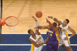 Los Angeles Lakers v Indiana Pacers: Andrew Bynum, Roy Hibbert and Brandon Rush Photographic Print by Ron Hoskins
