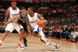San Antonio Spurs v Los Angeles Clippers: Eric Bledsoe and George Hill Photographic Print by Andrew Bernstein