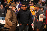 Chicago Bulls v Los Angeles Lakers: Lou Adler and George Lopez Photographic Print by Noah Graham