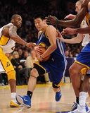 Golden State Warriors v Los Angeles Lakers: Jeremy Lin and Kobe Bryant Photographic Print by Noah Graham