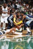 Memphis Grizzlies v Utah Jazz: Raja Bell, Mike Conley and O.J. Mayo Photographic Print by Melissa Majchrzak