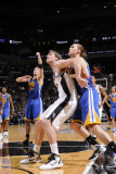 Golden State Warriors v San Antonio Spurs: Tiago Splitter and Lou Amundson Photographic Print by D. Clarke Evans