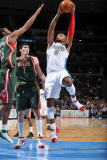 Milwaukee Bucks v Denver Nuggets: J.R. Smith, John Salmons and Ersan Ilyasova Photographic Print by Garrett Ellwood