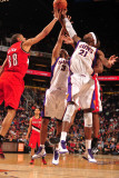 Portland Trail Blazers v Phoenix Suns: Hakim Warrick, Jared Dudley and Nicolas Batum Photographic Print by Barry Gossage