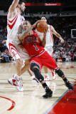 Chicago Bulls v Houston Rockets: Derrick Rose, Brad Miller and Luis Scola Photographic Print by Bill Baptist