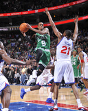 Boston Celtics v Philadelphia 76ers: Rajon Rondo and Thaddeus Young Photographic Print by David Dow