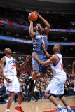 Charlotte Bobcats v Philadelphia 76ers: Dominic McGuire, Thaddeus Young and Evan Turner Photographic Print by Jesse D. Garrabrant