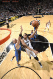 Orlando Magic v San Antonio Spurs: Tim Duncan and Marcin Gortat Photographic Print by D. Clarke Evans